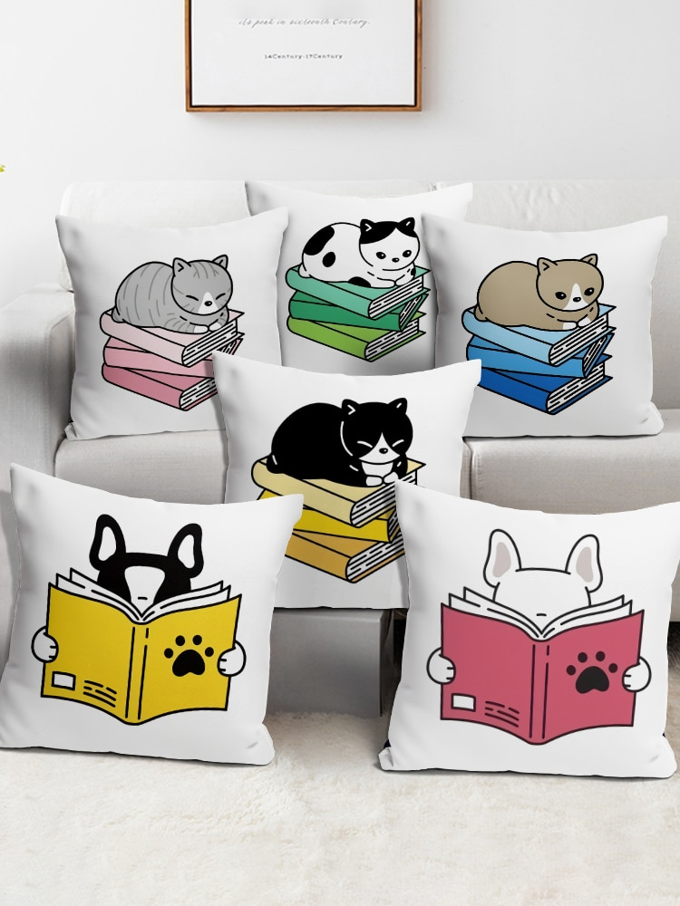 Reading Cat Square Pillow Case Polyester Cushions For Sofa Greyhound Whippet Sighthound Dog Creative Pillowcase bo bengtson the whippet