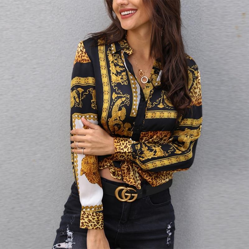 Spring Women Leopard Print Knot Front Blouse Shirt Office Lady Elegant Turn-down Collar Long Sleeve Button Shirt Streetwear