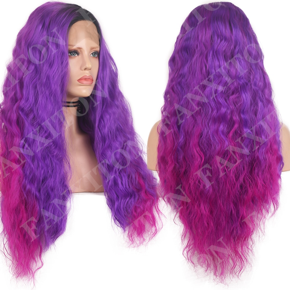 FANXITON Synthetic Lace Front Wig Deep Wave Synthetic Lace Wigs Purple Pink Ombre Rainbow Glueless Wigs For Women Cosplay