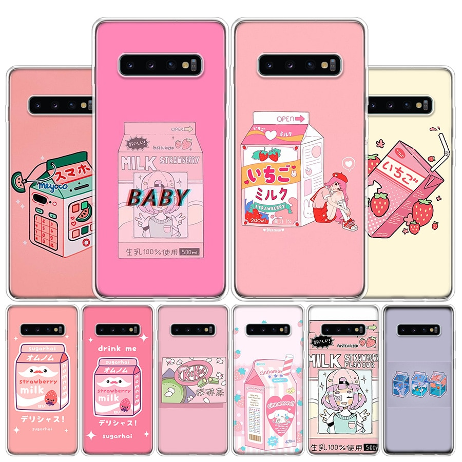 Kawaii japonês morango leite caso telefone para samsung galaxy s10 s20 ultra nota 10 9 8 s10e s9 s8 s7 edge j4 j6 j8 plus + capa