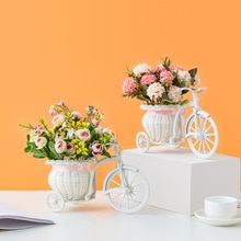 Immitation Rattan Flower Basket Vase Tricycle Bicycle Model Home Garden Wedding Party Desk Ornament