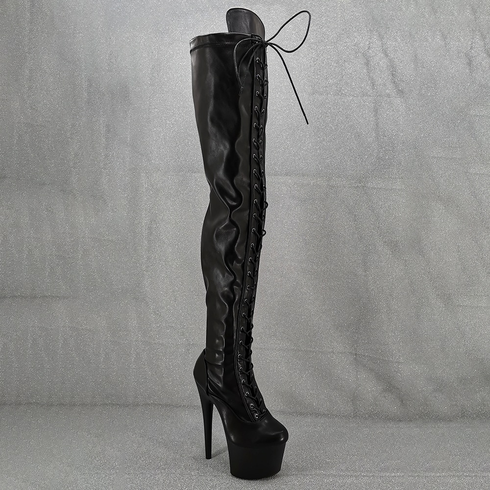 Leecabe  17CM/7inches sexy thigh-high boots lace up High Heel platform Pole Dance boot