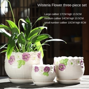 Home Decor Decoration Flower Vase Room Decor Ceramic Flowerpot with Tray Large Size Three Piece Container for Green Plants Vase