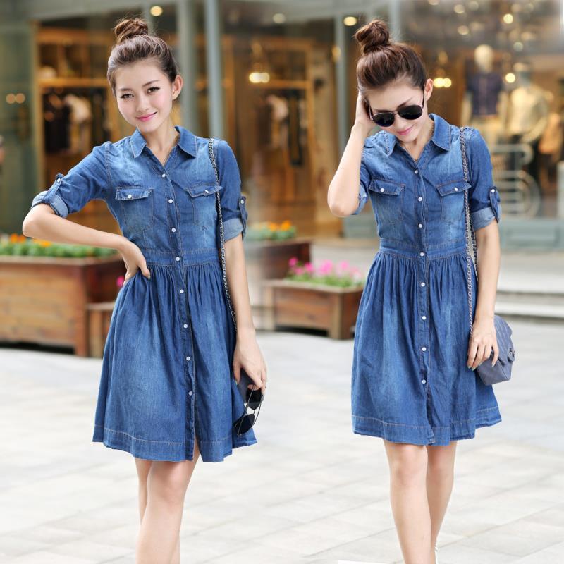 Vestido largo vaquero azul de talla grande de mujer, vestido nuevo de primavera y verano a la moda, vestido ajustado informal de tela vaquera para mujer, S-XXXXL