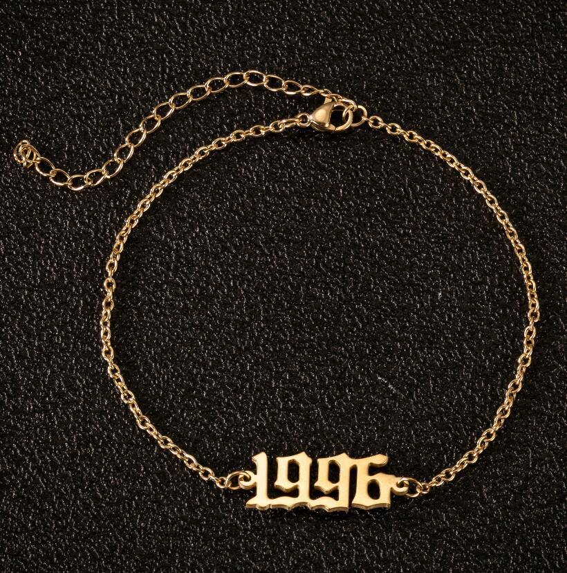 Año de nacimiento, tobillera con número, cadena, tobilleras de Color dorado para mujer, tobilleras de acero inoxidable estilo bohemio, joyería para tobillo