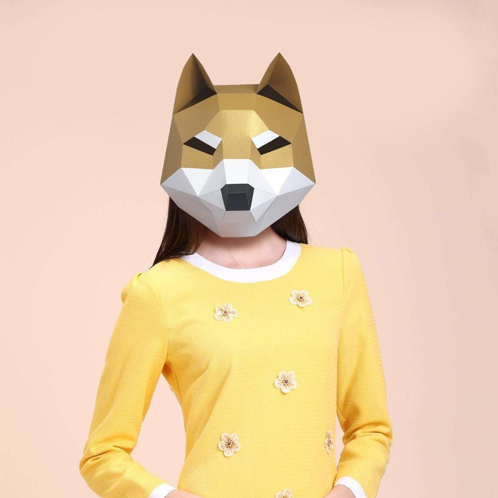Máscara de papel 3D moda perro lindo Animal disfraz Cosplay papel para manualidades máscara modelo navidad Halloween Prom fiesta regalo