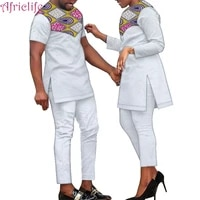african couple clothing newest design lover pant sets 100 cotton men t and women shirt set wyq390