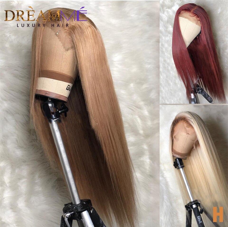 Peluca rubia recta de encaje frontal de cabello humano predesplumado 13X6 malla con división profunda pelucas humanas pelucas Remy Rubio brasileño densidad 150%