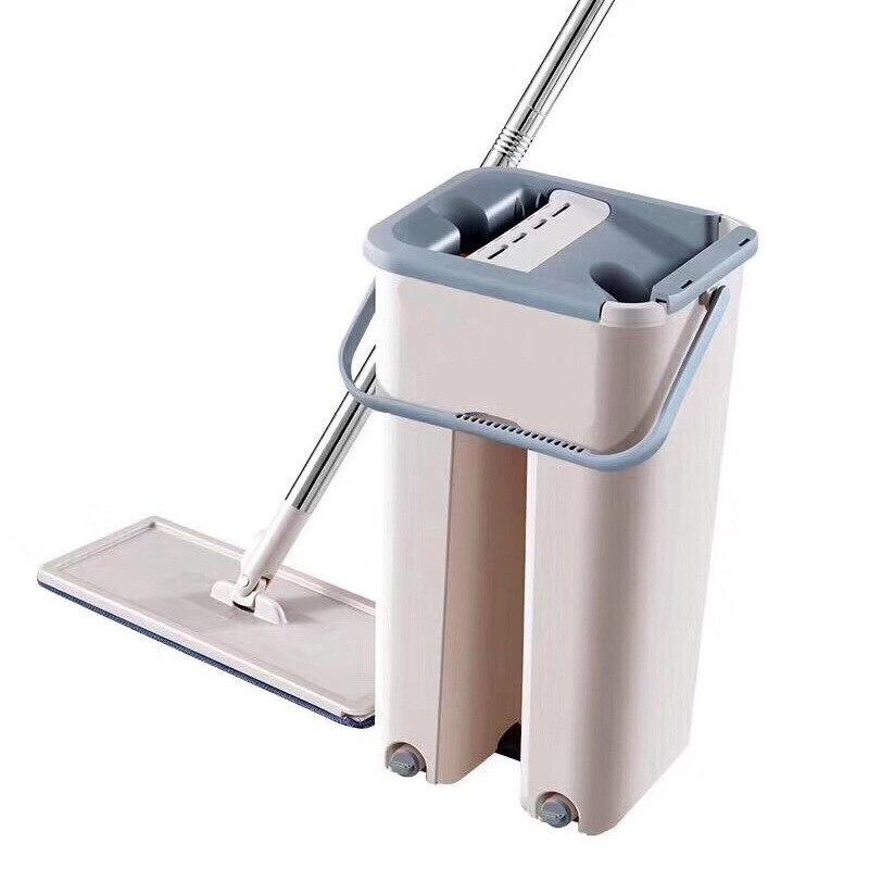 Fregona mágica autoescurrible, fregona plana para lavar a mano, trapo de limpieza de fibra ultrafina, fregona de madera para el hogar o la cocina