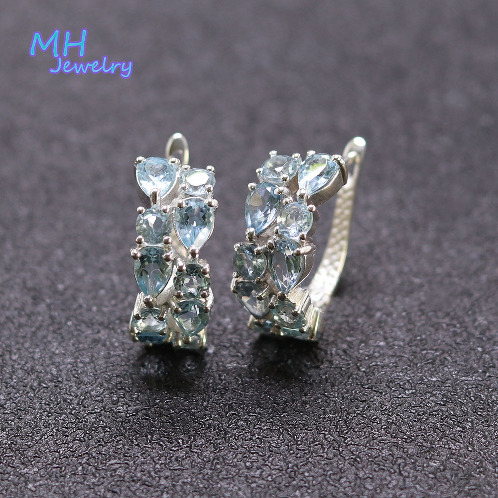 Review MH 100% natural blue topaz earring sold real 925 Sterling Silver Fine Jewelry sweet woman engagement gift