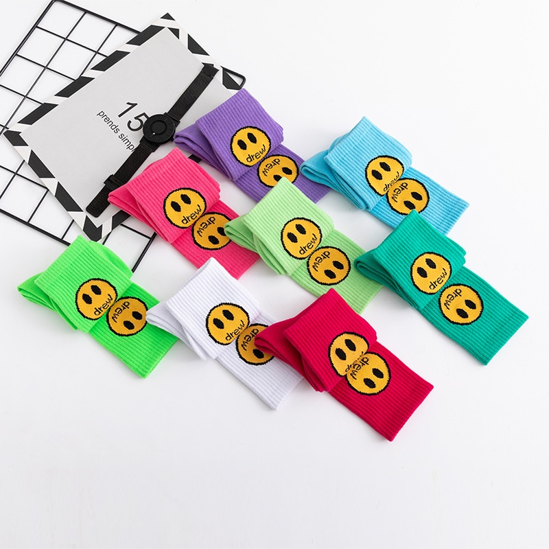 Winter Men Women Colorful Drew Smiley Face Socks Funny Happy Fashion Cotton Long Socks Harajuku Cute