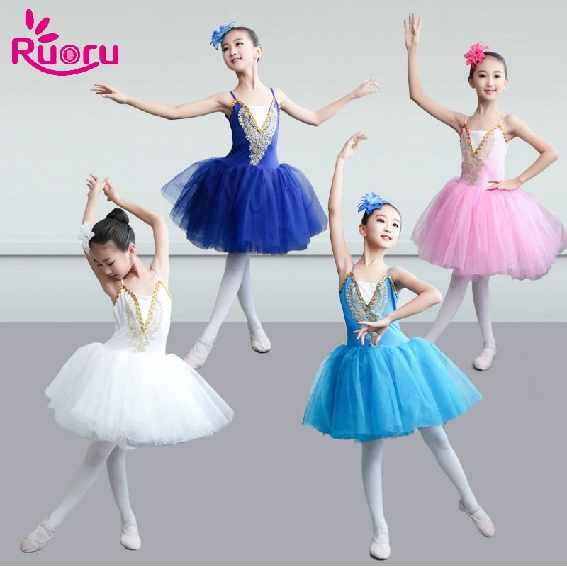 Ruoru Ballet Dress Skirt Competition Tutu Adult Girls Kids Ballet Tutu Costume Ballerina Dress Kids Women Pancake Tutu Dance недорого