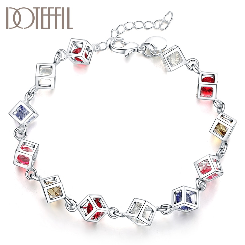 DOTEFFIL 925 Sterling Silver Multicolor Square AAA Zircon Bracelet For Women Wedding Engagement Party Fashion  Jewelry doteffil 925 sterling silver butterfly aaa zircon bracelet for women fashion wedding engagement party charm jewelry