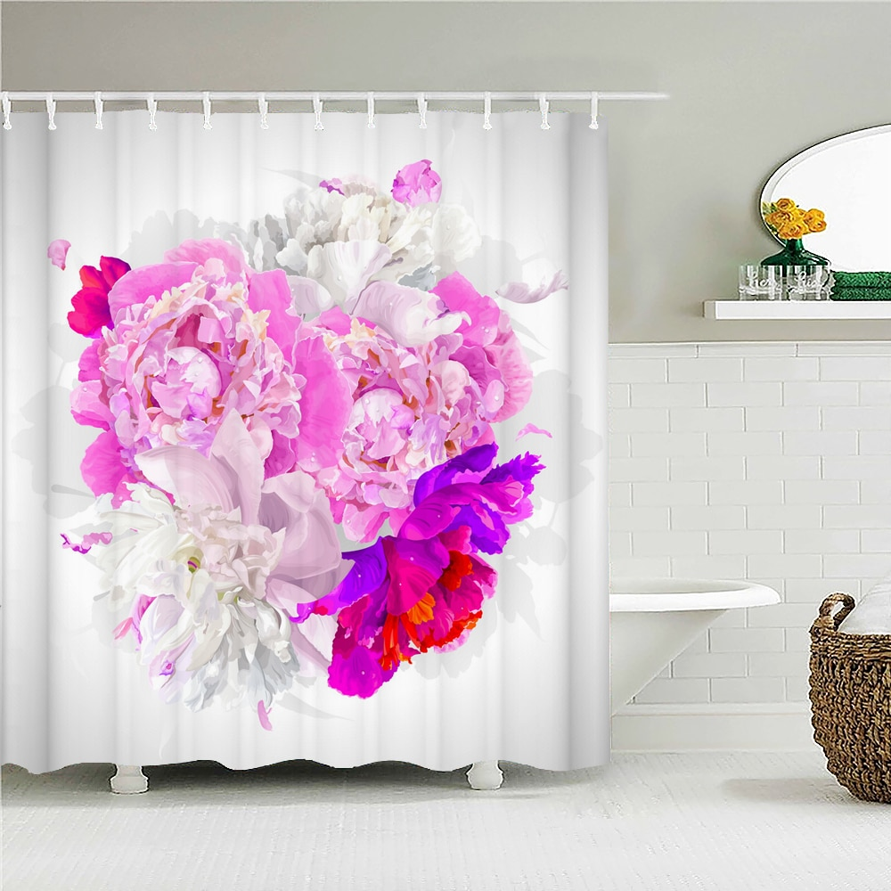 High Quality Beautiful Flowers Fabric Shower Curtain Waterproof  Floral Bath Curtains for Bathroom D