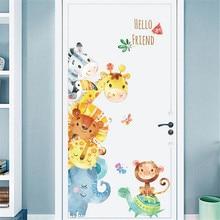 Pegatinas de animales pintados a mano de dibujos animados niños adhesivos de decoración de habitaciones vinilos decorativos decoración de pared paredes adesivo de parede #25
