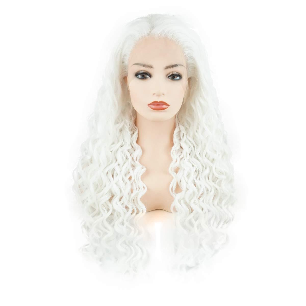 جيليون الشعر المجعد طويل 26 بوصة الأبيض الكثافة الثقيلة نصف اليد تعادل واقعية الاصطناعية الدانتيل الجبهة الباروكات