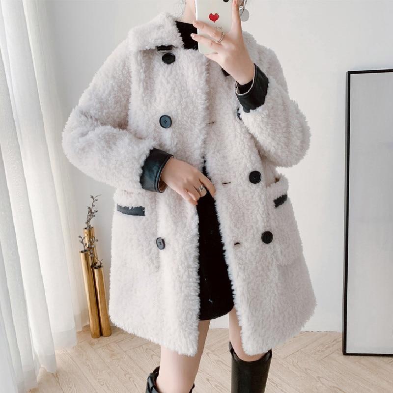 Женское пальто из овчины средней длины, толстый тренчкот из овчины, верхняя одежда из шерсти, Осень-зима 2021