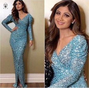 Sexy Ligh Blue V Neck Pleated Long Sleeve High Slit Bling Bling Sequin Lace Evening Dresses