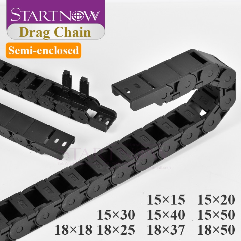15X50 Plastic Opening Drag Transmission Cable Chain Wire Carrier With End Connectors Towline 18x37 F