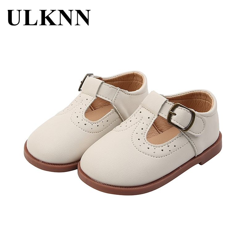 ULKNN Girls White Shoes New Baby Princess Soft-soled Leather Shoes Leisure Single Children 1 To 6 Years Old Flat Shoes