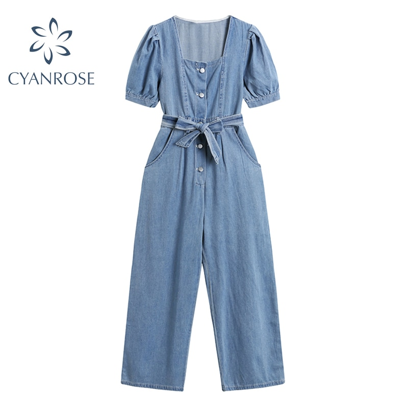 Summer Vintage Denim Jumpsuit 2021 Female With Belt Square Collar Casual Jeans Fashion Short-Sleeved