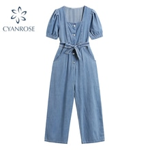 Summer Vintage Denim Jumpsuit 2021 Female With Belt Square Collar Casual Jeans Fashion Short-Sleeved