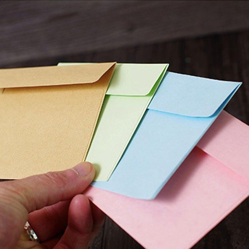 200 крафт-бумага мини конверт бизнес свадебные приглашения канцелярские студент подарок однотонные светлые Цвет канцелярские товары оптом