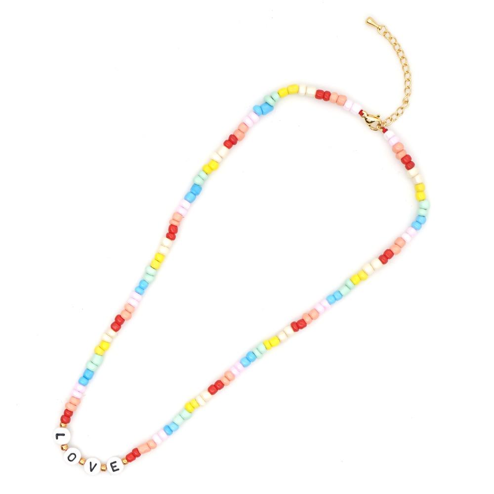 Shinus-Collares con cuentas de arcoíris para Mujer, Gargantilla con letras de amor,...