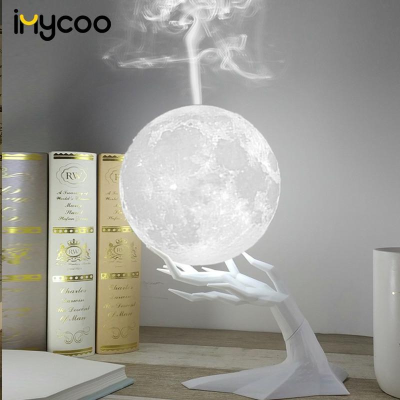 Humidificador ultrasónico de 880ML con forma de luna y Aroma, difusor de aceites esenciales con lámpara LED de noche, Humidificador USB para niebla, envío directo