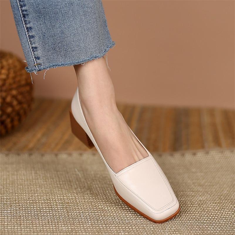 ANNYMOLI Women Square Toe Shoes Mid Heel Pumps Chunky Heels Dress Shoes Ladies Slip On Footwear Shoes Spring Beige Size 45 46