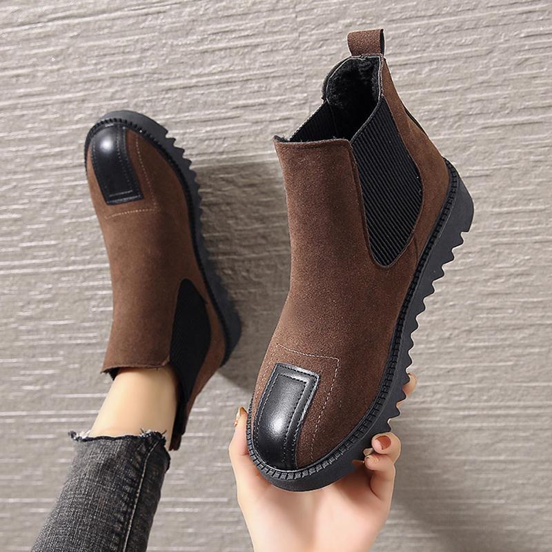 Женские однотонные ботильоны без шнуровки, замшевые теплые зимние ботинки на плоской подошве, модная женская обувь с круглым носком, новинка 2021