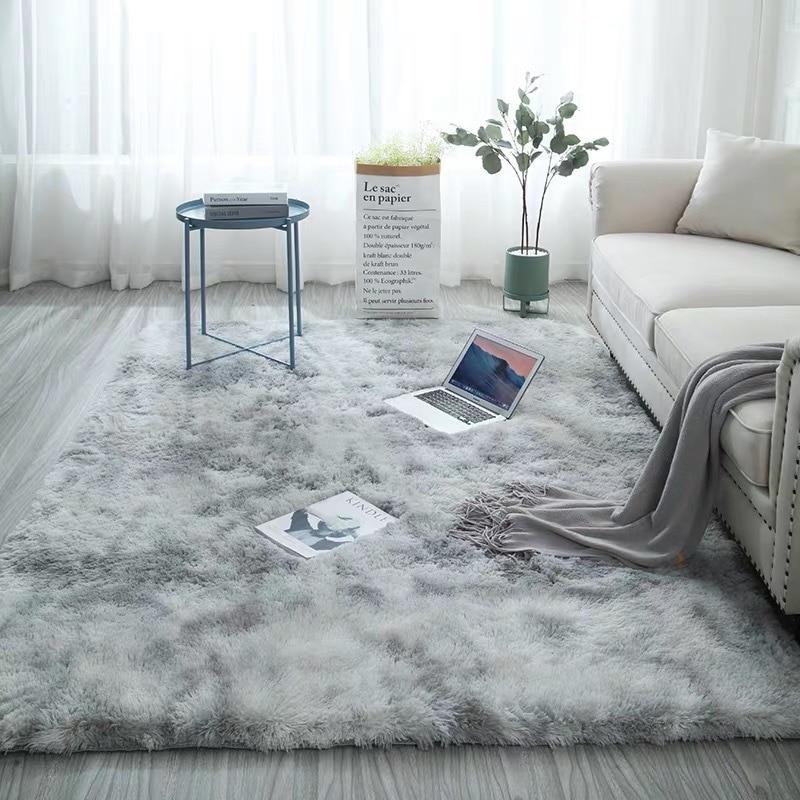 European long hair bedroom carpet bay window bedside mat washable blanket Gradient color living room rug Gray Blue