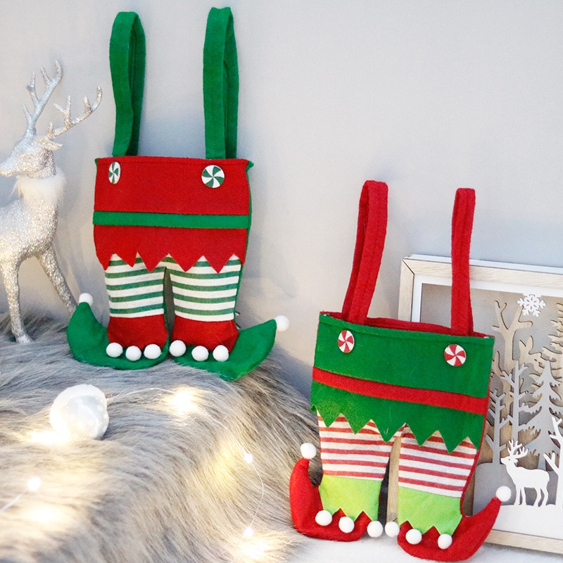 1 Pc Kawaii Beautiful and Interesting Christmas Decorations Elf Bag Candy Bag Santa Gift Bag Holiday
