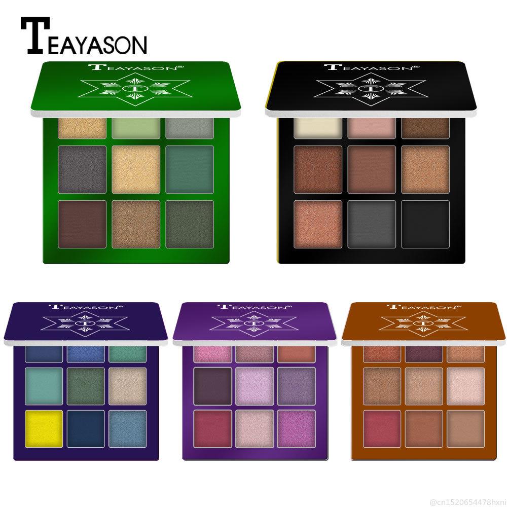 Paleta de sombra de ojos de 9 colores mate brillo impermeable pigmento de diamante resaltador sombra de ojos maquillaje cosméticos TPLM2