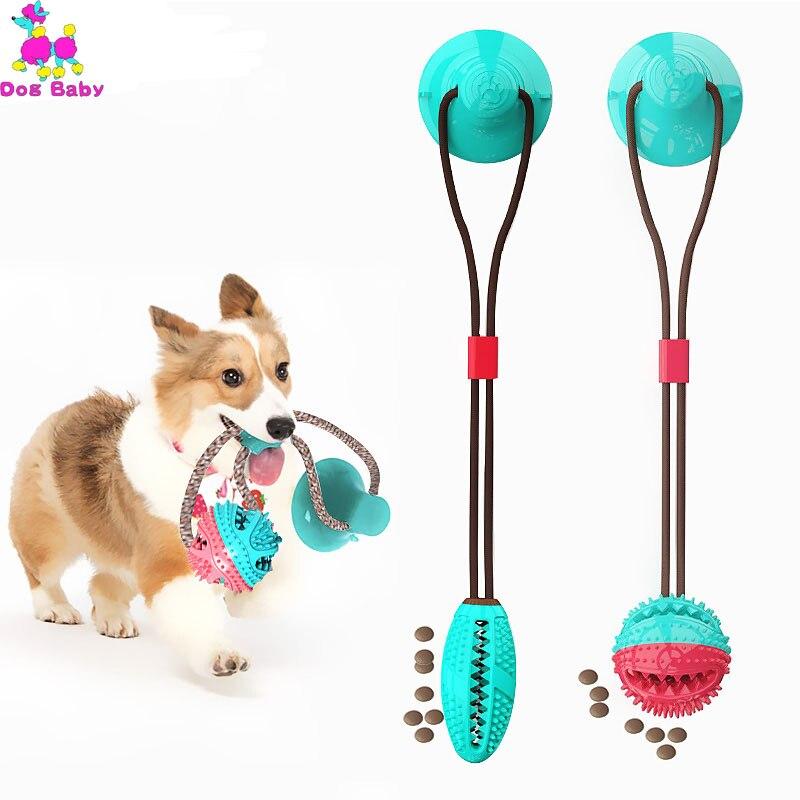 Juguete para morder para perros con ventosa para perro, bola para tirar la pelota multifunción para mascota, mordedura Molar de goma de juguete, cuerda para estirar perros, palo de cepillado para limpieza de Mascota