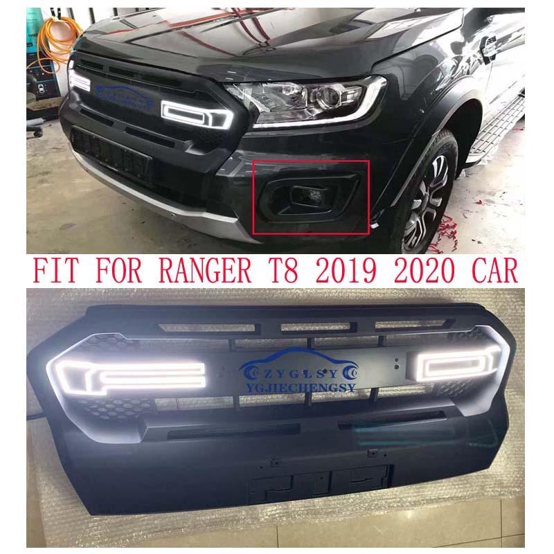 Preto exterior automático modificado malha máscara grille capa abs led grill grills apto para 2019 2020 ranger t8 alta wildtrak xtl