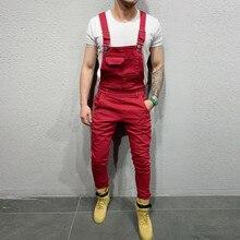 Mode vintage hommes jean rouge combinaisons streetwear en détresse Denim bavoir Camouflage poches salopette mâle jarretelle pantalon F826