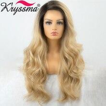 Perruque Body Wave synthétique longue ombrée Blonde   Perruque Lace Front wig au Crochet, perruque Cosplay résistante à la chaleur pour femmes noires