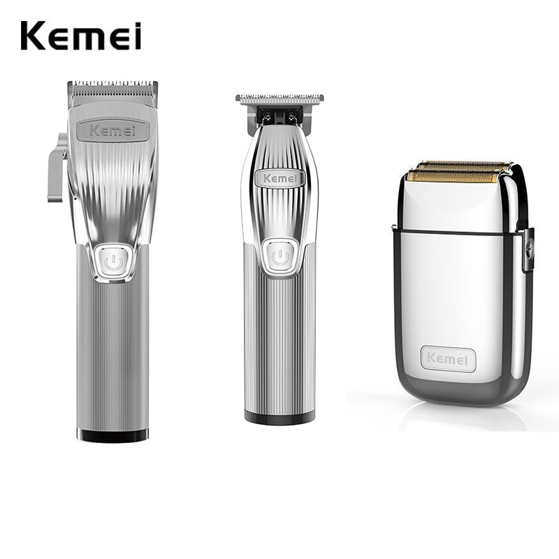 Kemei Professional Barber Shop Hair Clipper Kit 0mm Trimmer Electric Shaver Finish Machine Set Cordless/Corded Li-on Clip enlarge