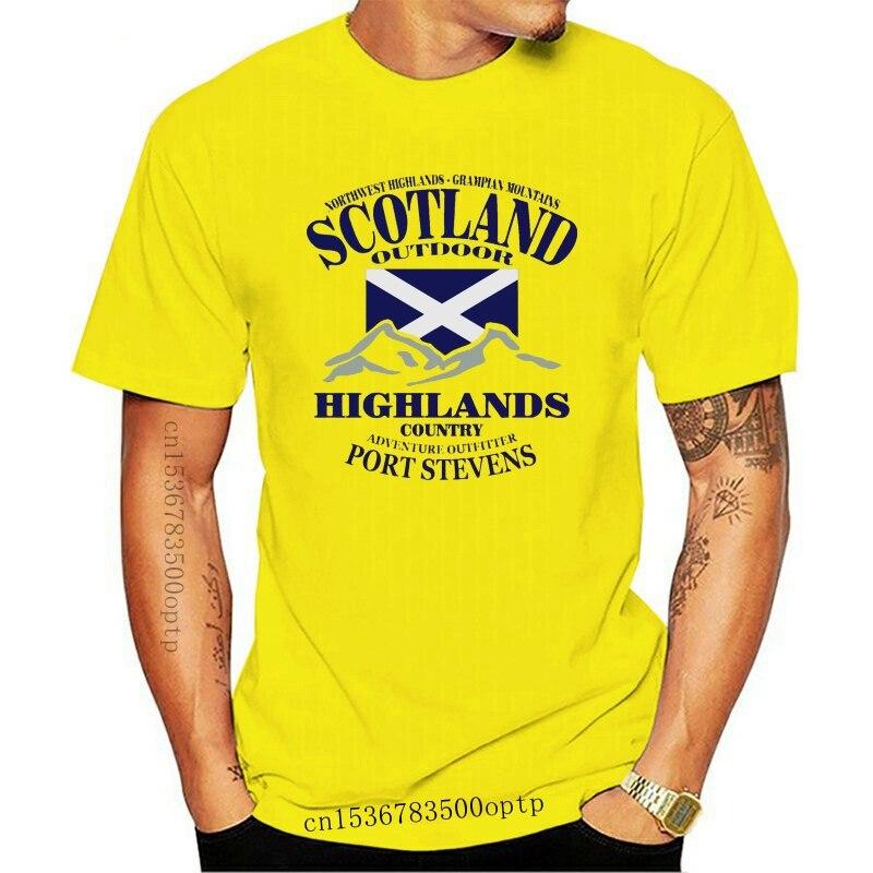 New Highlands Scotland Flag Mens T Shirt Humor Summer Letter Homme Design Crew Neck Cute 100% Cotton Shirt
