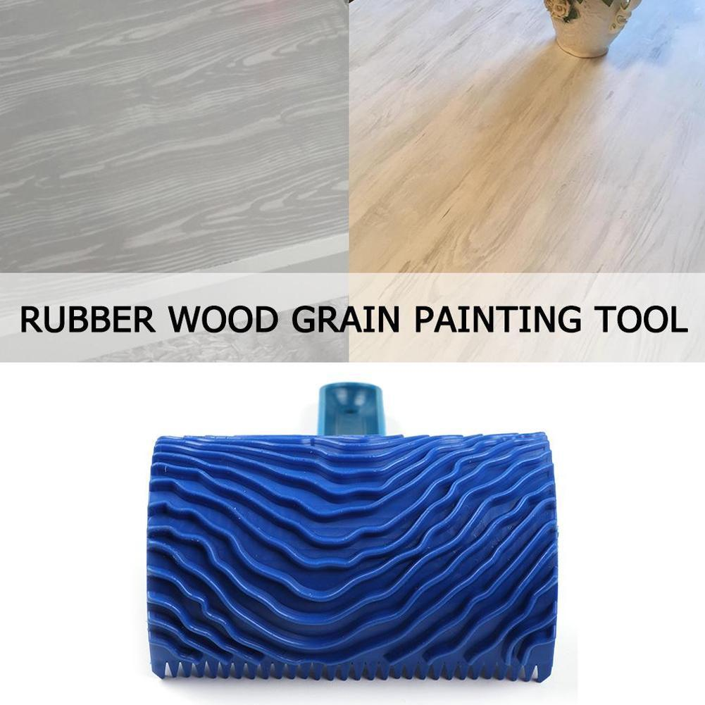 Blue Rubber Wood Grain Paint Roller DIY Graining Painting Pattern Wall Home Wood Painting Grain with Roller Tool Tool Handl V9O5  - buy with discount