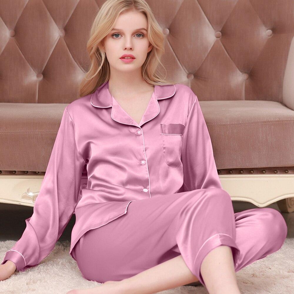 2Pcs Women's Silk Satin Pajamas Set Sleepwear Long Sleeve Tops+Long Losse Pants Pijama Couple Pajama