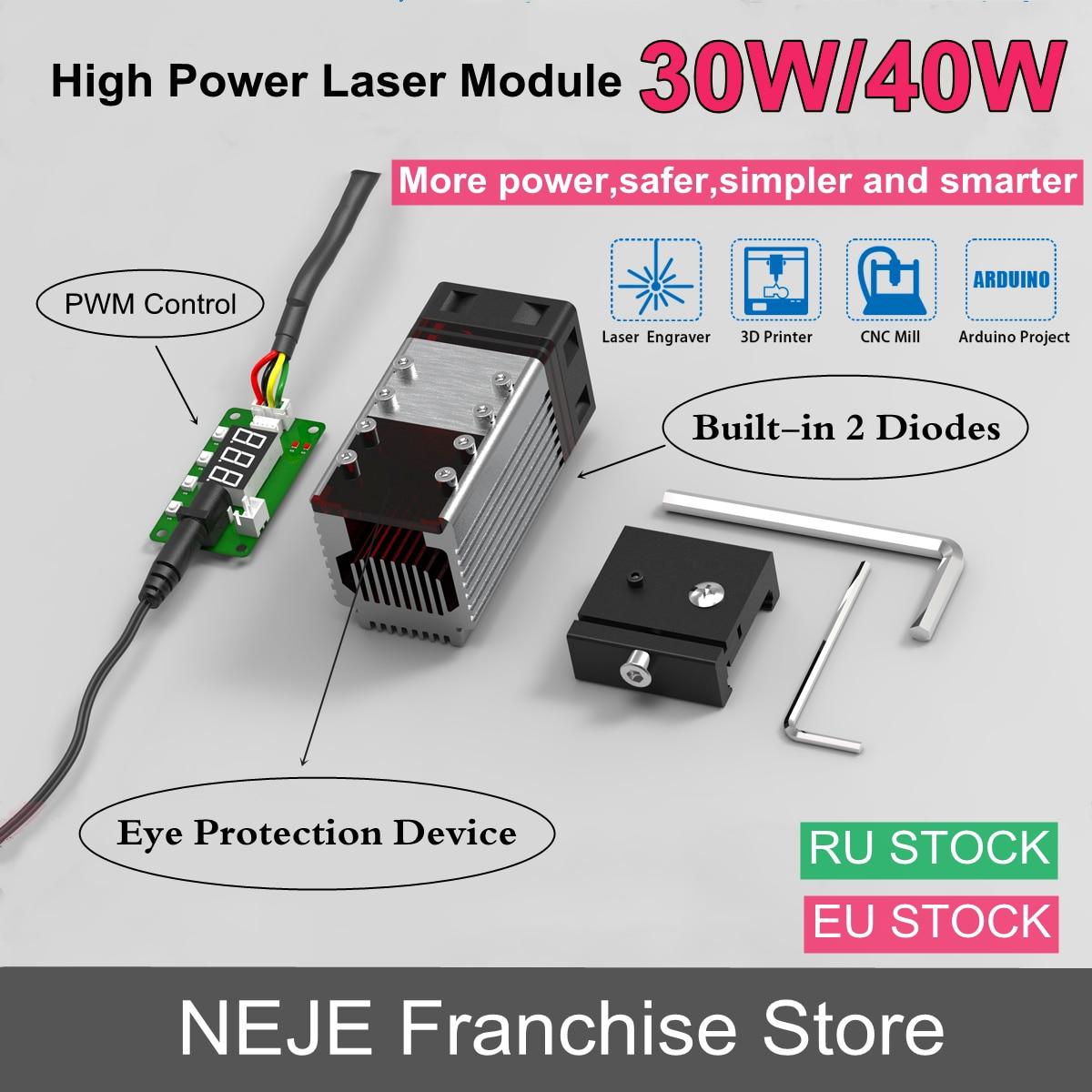 NEJE 40W/80W Laser Module Kit Laser Head Built-in 2 Diodes 450nm TTL Module for Laser Engraver Machine Wood Cutter Cutting Tool