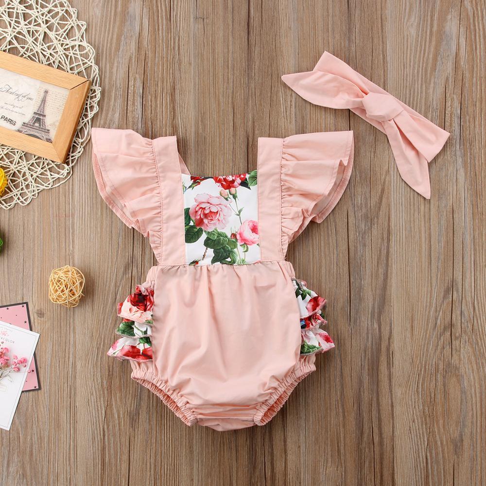 Ropa de verano para niñas, ropa de algodón de manga corta con estampado Floral, mono Casual para niñas recién nacidas 0-24M
