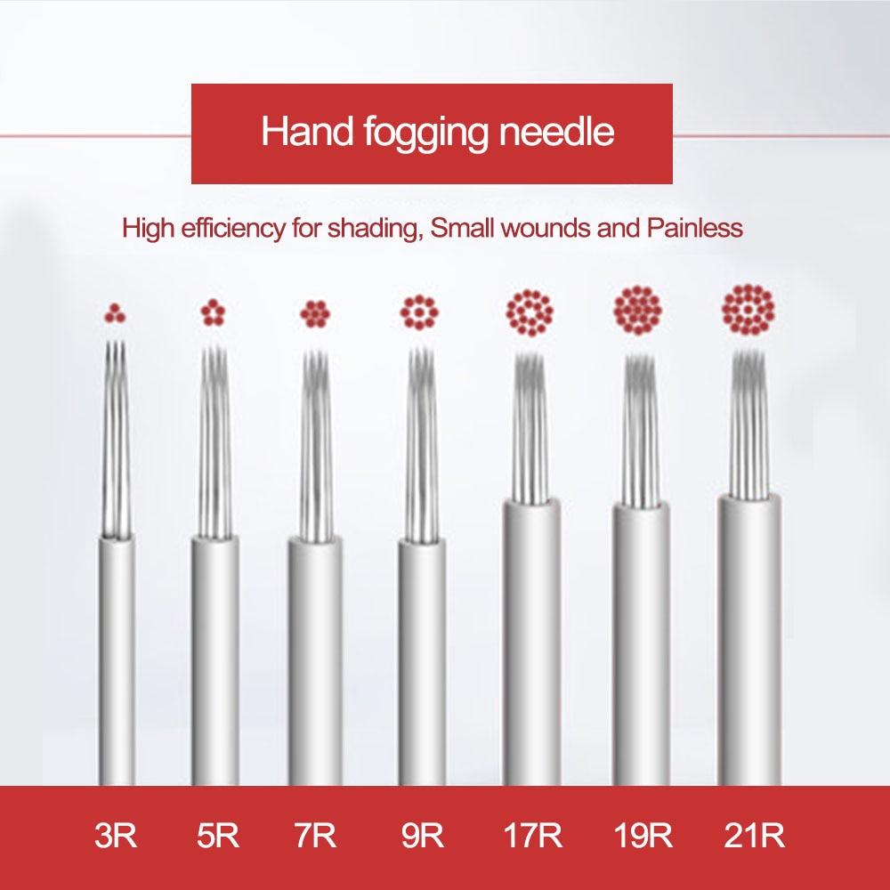 Agujas de Microblading de 50 Uds. De 0,3mm, agujas de tatuaje de cejas para pluma de microaguja, agujas de sombreado redondas para maquillaje permanente