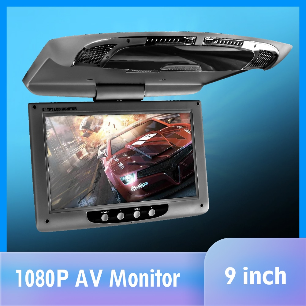 9'' Roof Mount Display Multimedia TFT LCD Car Monitors video input Radio Flip Down AV Monitor for car audio Android DVD Player