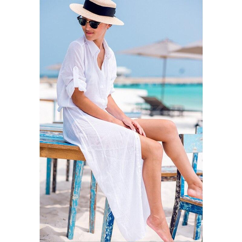 2020 Sexy Chiffon Strand Cover Up Bikini Bademode Frauen Cover Up Strand Kleid Shirt Lange Tuniken Badeanzüge Abdeckung-ups Beachwear