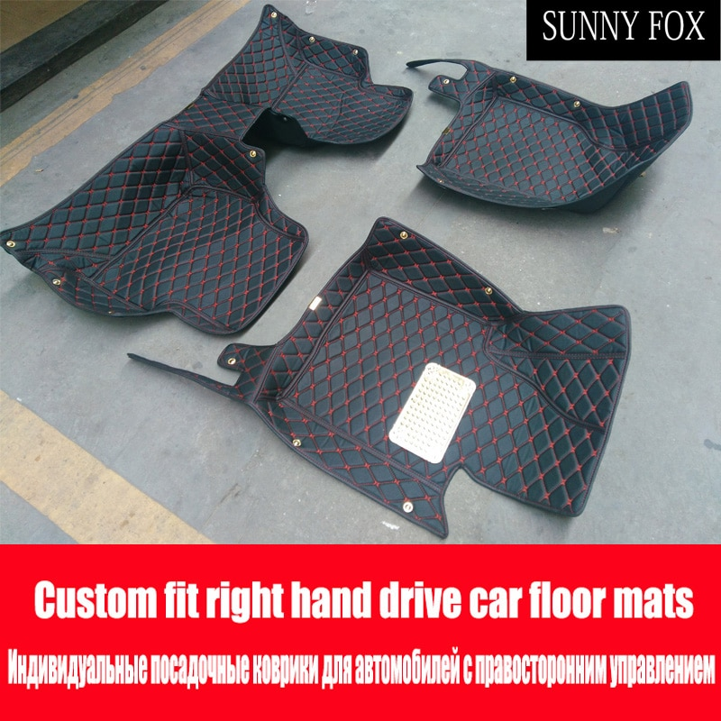 SUNNY FOX Right hand drive/RHD car car floor mats for Toyota Camry Corolla RAV4 Mark X Verso FJ car-styling leather Anti-slip ca