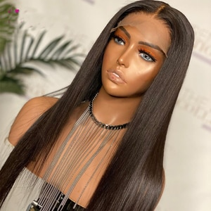 Glueless Jet Black Soft Long Silky Straight Lace Front Synthetic Hair Wigs With Baby Hair Natural Hairline For Women Cosplay Wig