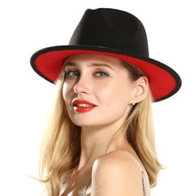 2020 winter fedora hats for women fashion Flat wide Brim Wool Felt Jazz Hats for men black and red g